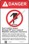 12x18 RF DANGER BURN Sign