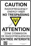 8x12 NEW CANADIAN RF CAUTION Sign