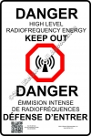 8x12 NEW CANADIAN RF DANGER Sign