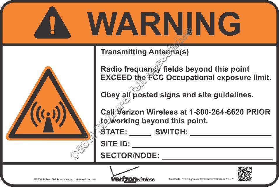 RadHaz com 256-434-1273 - 8x12 NEW VERIZON RF WARNING Sign | Richard